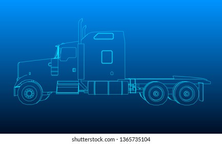 Background with the outline of the truck without a trailer. 3D illustration