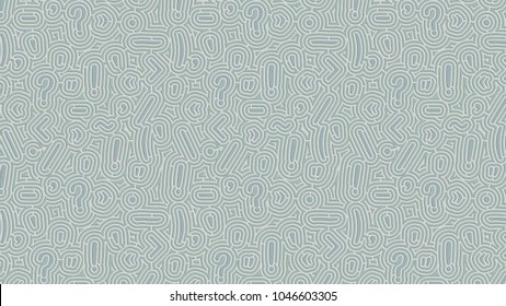 Background of pale green punctuation marks pattern embossed as endless maze on paper. 3d render.