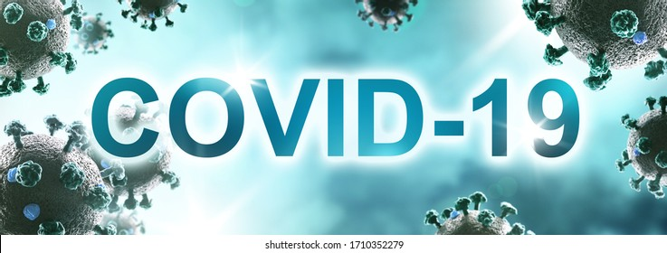 Background panorama with COVID-19 text. Coronavirus 3D illustration