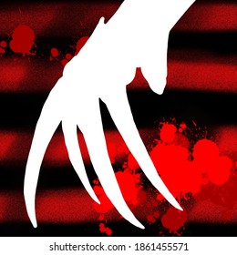 Background patern red and black stripes. Krueger hand and red color strokes. Wallpaper Halloween
