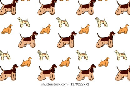 Background, a pattern made up of cute American Cocker Spaniel dogs.