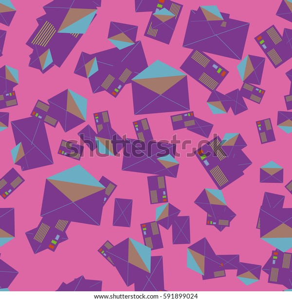 Background pattern with open mail envelope. Modern doodle pop art sketch. Bright seamless pattern with colorful envelopes, letters. For textiles, packaging paper.