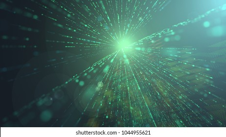 Background Perspective blur in abstract technology with bright flare. Digital effect graphic for art pattern. Cyber city perspective view mosaic and rays design for modern science or future world