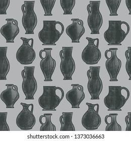 Background picture with amphorae and olive branches