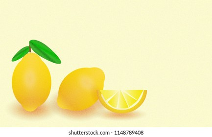 Background picture of illustrated fresh whole lemons and one slice on bright yellow background with lots of space for text.