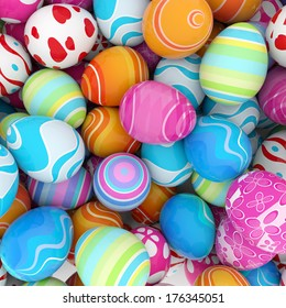 background of a pile of colorful easter eggs