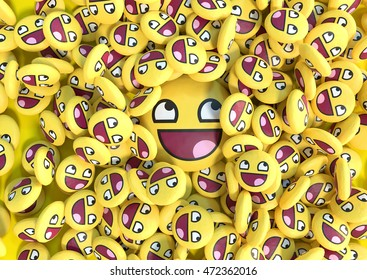 Background with pile of realistic yellow 3D social media emoticons with one big in the center. 3D illustration.