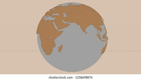 A background of the planet Earth in a cartoonish style, which shows the Europe and Asia continents. 3D Illustration.