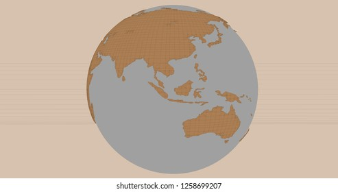 A background of the planet Earth in a cartoonish style, which shows Australia and Asia continents. 3D Illustration.