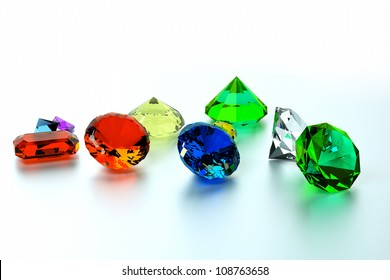 background of precious stones, front view