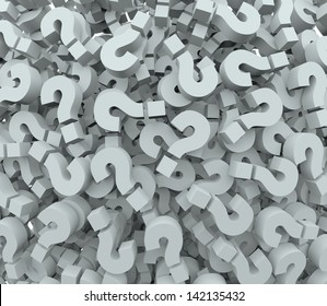 A background of question mark signs and symbols to illustrate learning, education, testing, quizzing, creativity and imagination