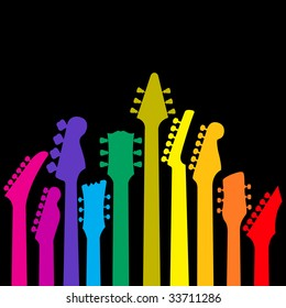 A background with a rainbow of Guitar headstocks