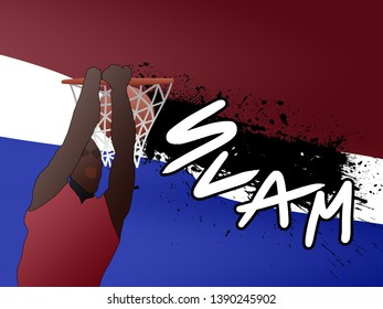 Background with red blue white and male slamdunk on backboard