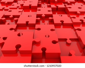 Background of red puzzles pieces.3d illustration