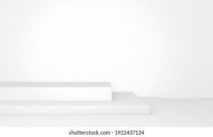 Background rendering with podium and wall scene abstract background. 3D illustration, 3D rendering