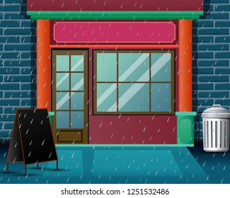 Background restaurant scene with very heavy rain