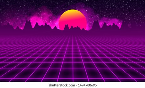 background retro 1980 , sun between mountains silhouette and sky whit stars whit grid and smoke. Illustration 3D