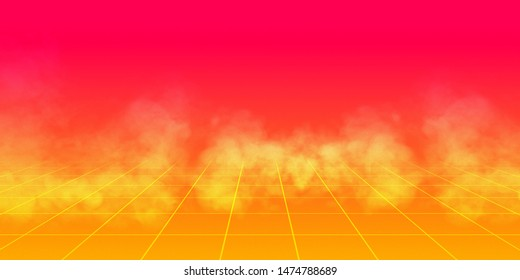 background retro 1980 , yellow and red gradient whit grid and smoke. Illustration 3D