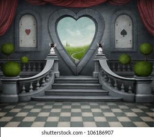 Background room with  door in shape of heart. Computer Graphics.