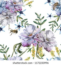 Background of roses with wildflowers and bees. Seamless pattern. Watercolor illustration