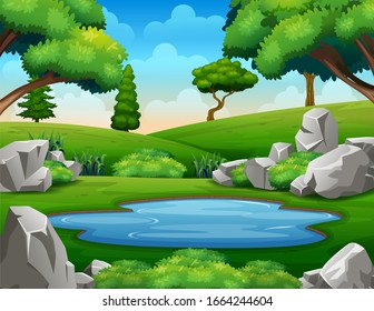Background scene with waterhole in the middle of nature