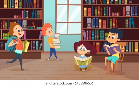 Background with school characters. pictures of pupils. Illustration of library with bookshelf, bookstore university