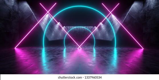 Background Sci Fi Neon Triangle Circle  Futuristic Alien Spaceship Dance Slub Stage Glowing Purple Pink Blue Ultraviolet Fluorescent Laser Led Lights On Grunge Dark Concrete Reflective 3D Rendering