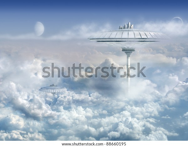 Background with Sci-Fi Cloud City