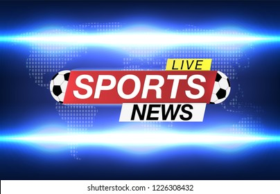 Background screen saver on soccer Sports news. Sports News Live on World Map Background. Vector Illustration.