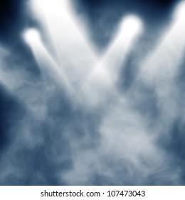 Background in show. Spotlight on smog