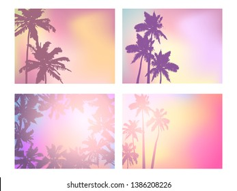 Background with silhouette of palm trees and tropical sunrise