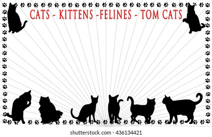 Background with silhouettes of different cats  isolated on white background.   Illustration graphic.  Paw prints for border  Red text at top