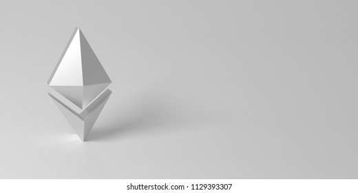 Background with silver Ethereum symbol. 3d rendering.