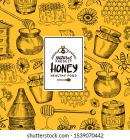 background with sketched contoured honey theme elements with logo or badge for hone shop or farm