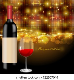 Background with sparkles and a wine bottle and wine glass in front