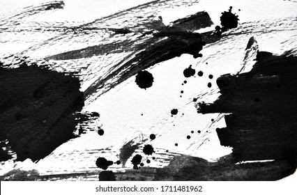 Background splash black on paper. Creative abstract art from ink and watercolor.