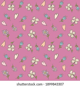 Background with spring flowers, hearts. Hand drawing. For print. Scrapbook paper.