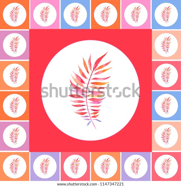 background from a square and a circle, in the center of an autumn red leaf, an autumnal background