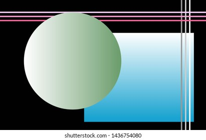 Background suitable for computer desktop. Circle, square and lines