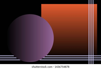 Background suitable for computer desktop. Sphere, square and lines