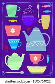 Background with tea and coffee cups, kettles, spoons and sweets. Digital illustration.