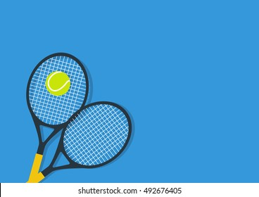 Background With Tennis Racket And ball. Flat poster. Vector illustration.