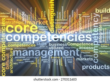 Background text pattern concept wordcloud illustration of core competencies glowing light