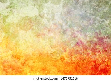 Background texture and grunge in vibrant mottled and marbled colors of hot fiery orange red and pink with beige blue gray and white brush strokes in grungy painted artsy design