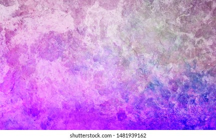 Background texture and grunge in vibrant mottled and marbled colors of purple pink blue and white brush strokes in grungy painted artsy design