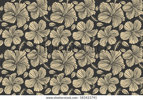 Background texture, wallpaper, floral theme. Abstract ethnic seamless pattern. Tribal art boho print, vintage beige and gray flower background.