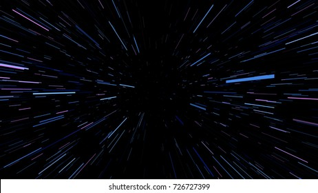 Background through the deep space. Warp and Blast Stars. speeding through space, Explosion Ray Galaxy. Future Cosmos Abstract Background