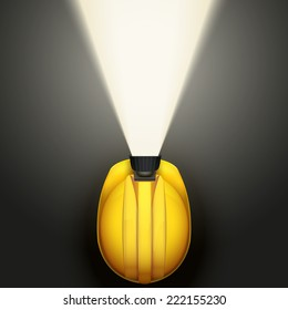 Background of Top view of Classic vintage miners helmet with lamp and light. Illustration on a gray background