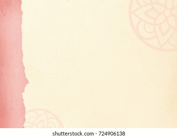 A background for traditional Korean festivals with a pink border and traditional pattern.