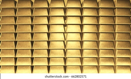 Background wall of gold ingots on the side 3d illustration